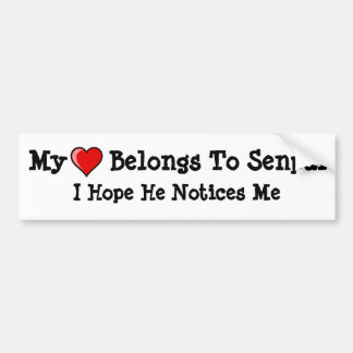 My Heart Belongs To Senpai Bumper Sticker
