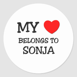 My Heart Belongs To SONJA Round Stickers
