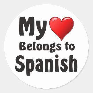 My heart Belongs to Spanish Round Sticker