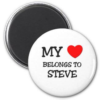 My Heart Belongs to Steve 6 Cm Round Magnet