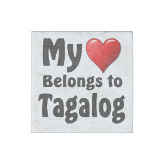 My heart Belongs to Tagalog Stone Magnet