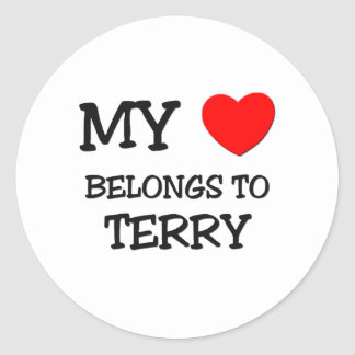 My Heart Belongs to Terry Round Sticker