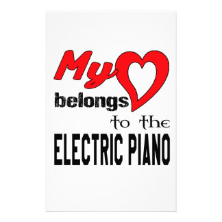 My heart belongs to the electric piano. stationery paper