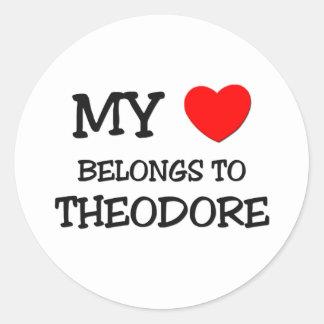 My Heart Belongs to Theodore Round Sticker