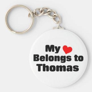 My heart belongs to Thomas Basic Round Button Key Ring