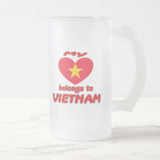 My heart belongs to Vietnam Frosted Glass Mug