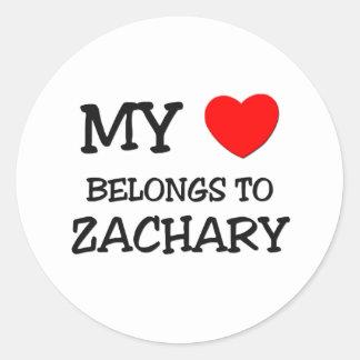 My Heart Belongs to Zachary Round Sticker