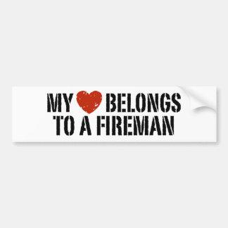 My Heart Fireman Bumper Sticker