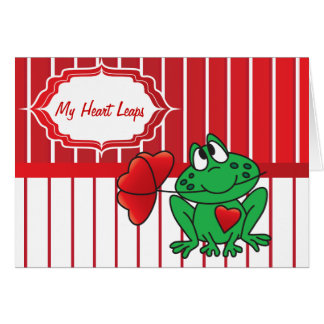 My Heart Frog Leaps - Valentines Day Greeting Card