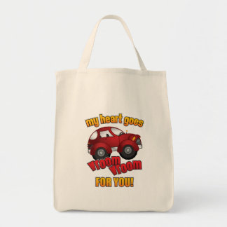 My Heart Goes Vroom Vroom For You! Grocery Tote Bag