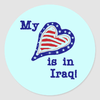 My Heart is in Iraq Tshirts and Gifts Round Sticker