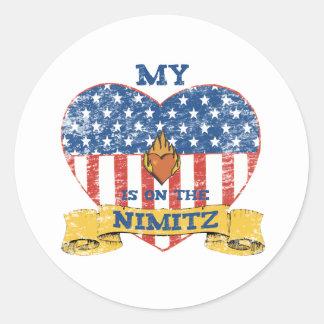 My Heart is on the Nimitz Round Sticker