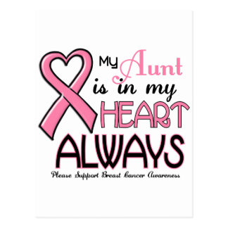 My Heart Is With My Aunt BREAST CANCER Postcard