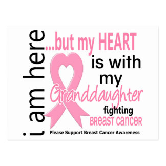 My Heart Is With My Granddaughter Breast Cancer Postcard