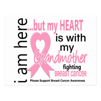 My Heart Is With My Grandmother Breast Cancer Postcard