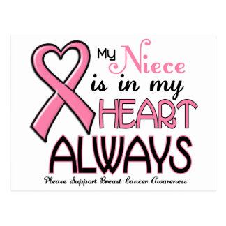 My Heart Is With My Niece BREAST CANCER Postcard