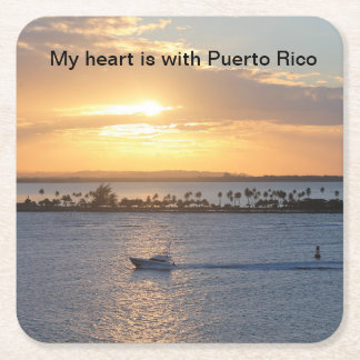 """""""My heart is with Puerto Rico"""" sunset coasters"""