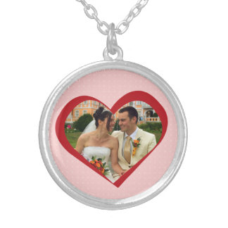 My heart is yours photo cutout red pink template round pendant necklace