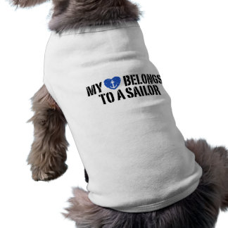 My Heart Sailor Sleeveless Dog Shirt