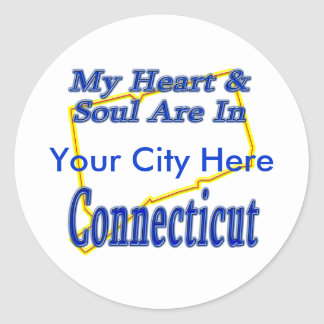 My Heart & Soul Are In Connecticut Round Stickers