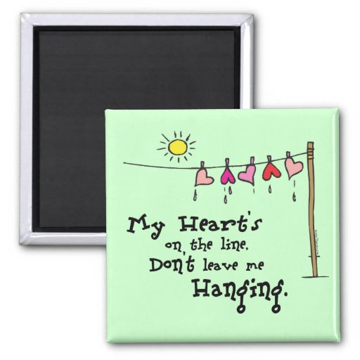 My Heart's on the Line Valentines Gear Fridge Magnet