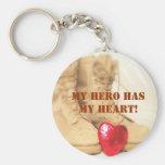 my hero has my heart keychains