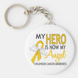 My Hero Is My Angel Childhood Cancer Basic Round Button Key Ring