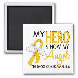 My Hero Is My Angel Childhood Cancer Square Magnet