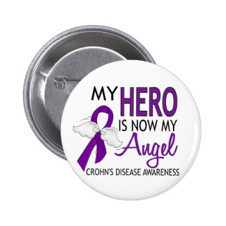 My Hero Is My Angel Crohn's Disease 6 Cm Round Badge