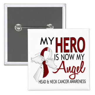 My Hero Is My Angel Head And Neck Cancer 15 Cm Square Badge