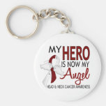 My Hero Is My Angel Head And Neck Cancer Basic Round Button Key Ring