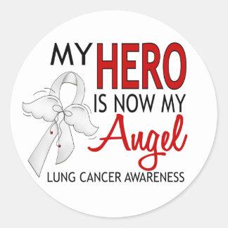 My Hero Is My Angel Lung Cancer Round Sticker