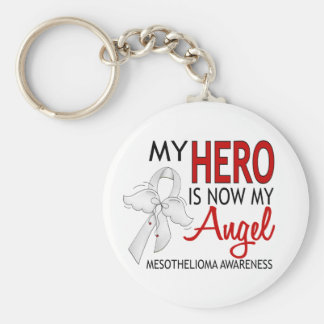 My Hero Is My Angel Mesothelioma Basic Round Button Key Ring