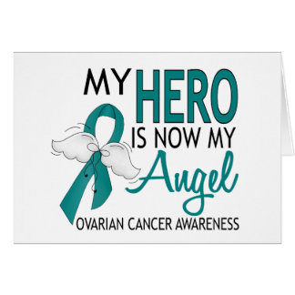 My Hero Is My Angel Ovarian Cancer Greeting Card