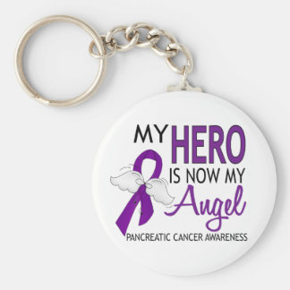 My Hero Is My Angel Pancreatic Cancer Basic Round Button Key Ring