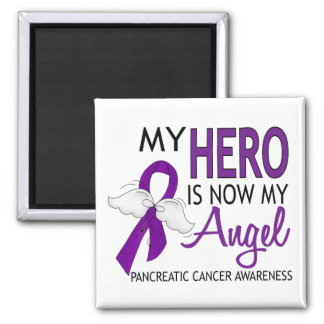 My Hero Is My Angel Pancreatic Cancer Square Magnet