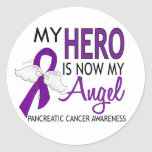 My Hero Is My Angel Pancreatic Cancer Round Stickers