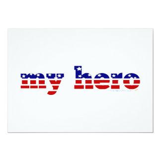 My Hero Stars and Stripes Patriotic Red White Blue 13 Cm X 18 Cm Invitation Card