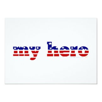 My Hero Stars and Stripes Patriotic Red White Blue Invitations