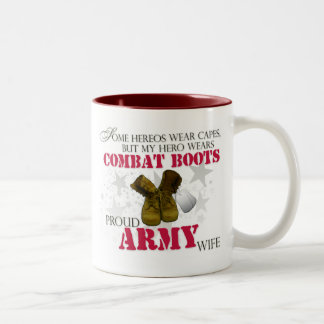 My Hero wears Combat Boots - Army Wife Two-Tone Coffee Mug