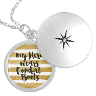 My Hero Wears Combat Boots Round Locket Necklace