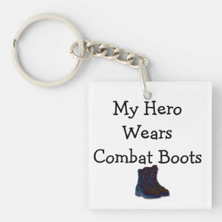 My Hero Wears Combat Boots Single-Sided Square Acrylic Key Ring