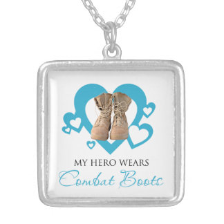 My Hero Wears Combat Boots Square Pendant Necklace
