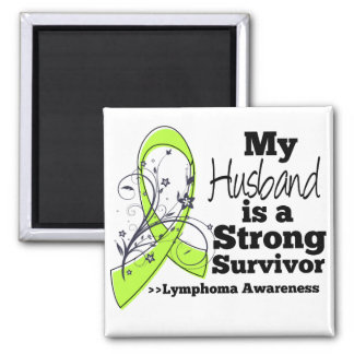 My Husband is a Strong Survivor of Lymphoma 2 Inch Square Magnet