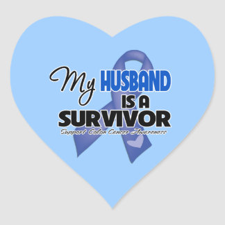 My Husband is a Survivor - Colon Cancer Heart Stickers