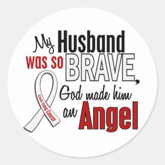 My Husband Is An Angel Lung Cancer Round Sticker
