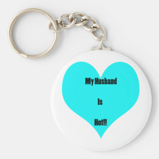 My Husband Is Hot! Basic Round Button Key Ring