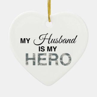 My Husband is my Hero Digital Camouflage Ceramic Heart Decoration