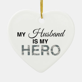 My Husband is my Hero Digital Camouflage Christmas Ornament