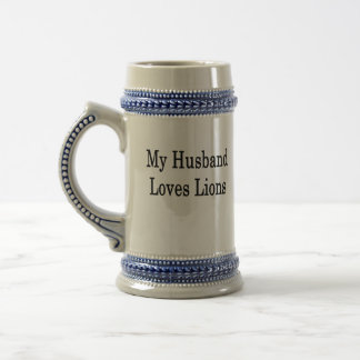 My Husband Loves Lions 18 Oz Beer Stein